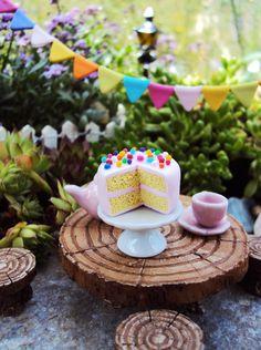 Fairy Garden Miniature BubbleGum Cake, Dollhouse Miniature Rainbow Cake, Polymer Cake, Celebration Cake. Miniature Cake by HelloLittleCloud on Etsy https://www.etsy.com/listing/197314188/fairy-garden-miniature-bubblegum-cake