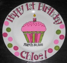 Hand Painted Happy 1st Birthday Keepsake Plate . 10 inch size . Girl Cupcake with Sprinkles - Unique - Personalized - pinks.greens.