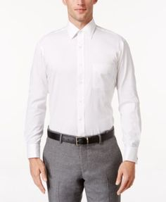 Club Room Estate Classic-Fit White Solid French Cuff Dress Shirt - White 16.5 34/35