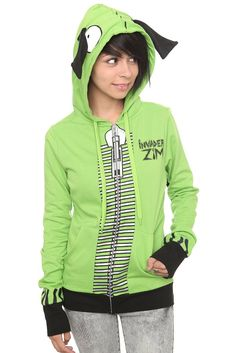 HOT TOPIC: Invader Zim I Am Gir Zip Hoodie [this is the most adorable thing I have ever seen] $53.50