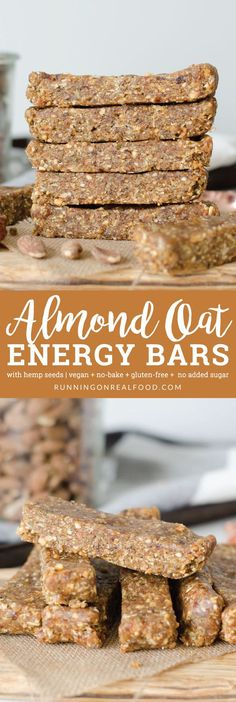 No-Bake Oatmeal Bars These no-bake almond oat bars call for just 6 ingredients such as hemp seeds and peanut butter. 8 grams of plant-based protein per bar. Gluten-free, vegan, no added sugar. via Running on Real Food Vegan Protein Bars, Healthy Protein Snacks, Vegan Bar, Protein Bar Recipes, Protein Cake, Healthy Sweets, Raw Food Recipes, High Protein, Healthy Oat Bars