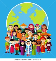 Vector Illustration Of Multicultural National Children, People On Planet Earth Stock Vector - Illustration of flat, children: 64818371 Harmony Day, World Poetry Day, Learning A Second Language, Globe Art, Costumes Around The World, Unity In Diversity, Fabric Stamping, Cultural Identity, Art Store