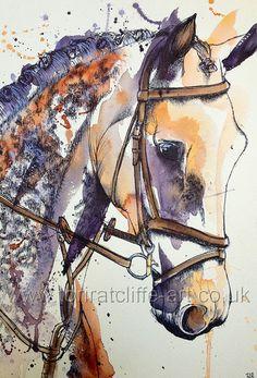 Horse/Equine artwork Watercolour and fineliner painting  www.toriratcliffe-art.co.uk www.facebook.com/toriratcliffeart