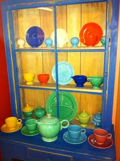 All Vintage Fiestaware in the cabinet now. On the look out for cabinet to store Harlequin and Riviera.