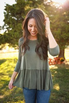Stitch Fix fall fashion. Perfect sage green top with jeans.