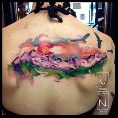 watercolor mountain tattoo - Google Search