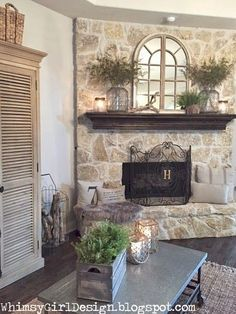 Moody Girl: Our Home: {Nature Inspired Spring Mantle} - Moody . - Moody Girl: Our Home: {Nature Inspired Spring Mantle} – Moody Girl: Our Home: {Nature Inspired Sp - Farmhouse Fireplace, Home Fireplace, Fireplace Remodel, Fireplace Design, Fireplace Ideas, Modern Fireplace, Stone Fireplaces, Stone Fireplace Decor, Whitewash Stone Fireplace