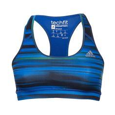 Women's adidas TechFit Sports Bra ($30) ❤ liked on Polyvore featuring activewear, sports bras, adidas, adidas activewear, racer back sports bra, blue sports bra and adidas sportswear