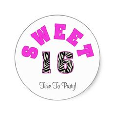 #Pink #White #Zebra #Sweet #16 #Party #Stickers