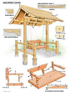 Sheltered swing - this might come in handy in designing/planning our poolside lounger.