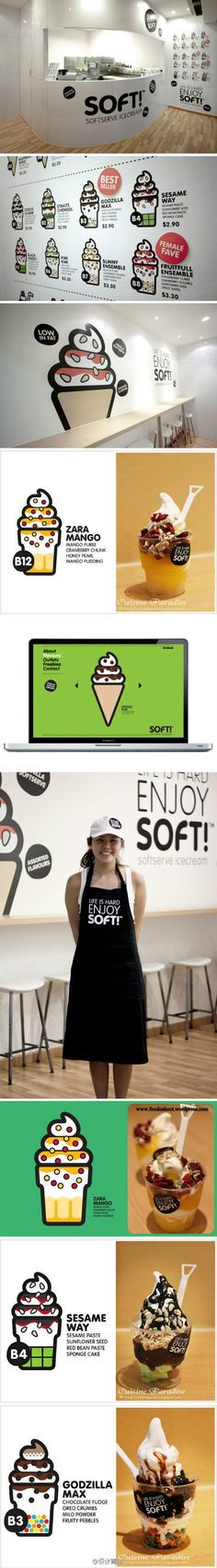 Soft! Nice branding / pack / www suite.  ihnynotes: like the cartoony cones a lot