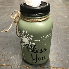 Mason Jar Tissue Holder Bless You Dandelion