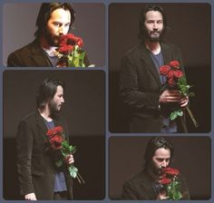 WHY DO WE LOVE KEANU? Because he takes time to smell the roses. Literally. (chicfoo) keanu
