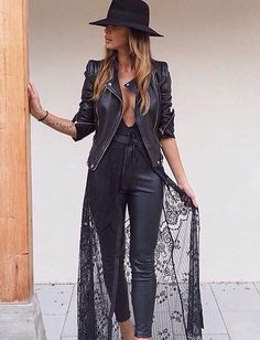 leather and lace all black outfit