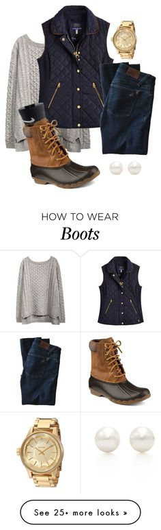 """Preppy fall duck boots outfit"" by libbyp16 on Polyvore featuring moda, Joules, DL1961 Premium Denim, NIKE, Sperry Top-Sider, Nixon y Tiffany & Co."
