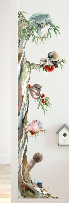 Watercolor Trees, Watercolor Artwork, Watercolor Animals, Bird Artwork, Australian Animals, Australian Nursery, Australian Artists, Nursery Wall Stickers, Wall Decals