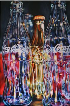 golden coca cola - kate brinkworth - oil on canvas Ap Studio Art, Realistic Paintings, Painting Still Life, Ap Art, Painting Lessons, Vintage Design, Watercolor Cards, Pictures To Paint, Coke