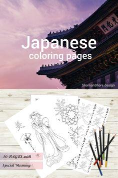 #ShShPrintables Japanese coloring pages for grown ups   Japanese hieroglyphs and geishas, coloring pages for adults   Printable adult coloring book on Etsy