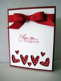 Simple valentine's card ~ red white dots background several hearts bottom