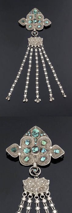 Tibet | Dress ornament; silver and turquoise.  H:  46 cm | 375€ ~ Sold (June '15)