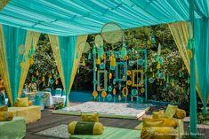 Nidhi and Sopan's haldi ceremoney decor. Nidhi and Sopan's haldi ceremoney decor. Desi Wedding Decor, Wedding Hall Decorations, Wedding Mandap, Backdrop Decorations, Wedding Bride, Mehendi Decor Ideas, Mehndi Decor, Cabana, Haldi Ceremony