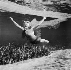 Underwater Photos From The 1950s-circa 1956: Ginger Stanley dives through the water during her solo underwater ballet at Silver Springs, Florida. (Bruce Mozert / Three Lions / Getty Images)