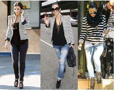 Kim Kardashian black and white striped blazer--love these looks!