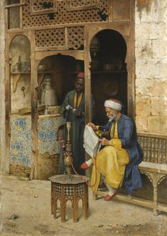 Reading The Newspaper With Shisha At An Old Arab Coffee House in Cairo - Arabian Art - Handmade Oil Painting On Canvas - Egyptian Fire Art Oil Painting On Canvas, Canvas Art, House Painting, Oil Paintings, Arabian Art, Old Egypt, Cairo Egypt, Islamic Paintings, Kairo