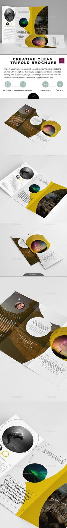 Creative Clean Trifold Brochure Template InDesign INDD. Download here: http://graphicriver.net/item/creative-clean-trifold-brochure/14737762?ref=ksioks