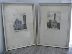 Vtg Signed Etchings Florence Italy Palazzo Vecchio Duomo Cathedral Santa Maria #Realism