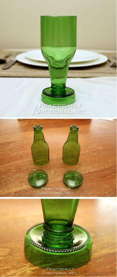 DIY Beer Bottle Goblets | Homemade Beer Bottle Craft Ideas by DIY Ready at  www.diyready.com/diy-projects-uses-for-beer-bottles/