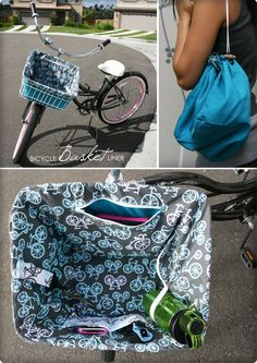 DIY Bicycle Basket Liner and Cinch Bag How I made a two-in-one basket liner and cinch bag for my bicycle cruiser.<br> How I made a two-in-one basket liner and cinch bag for my bicycle cruiser. Bicycle Basket, Bike Baskets, Picnic Baskets, Diy Sac, Cinch Bag, Basket Liners, Cycle Chic, Bicycle Accessories, Sewing