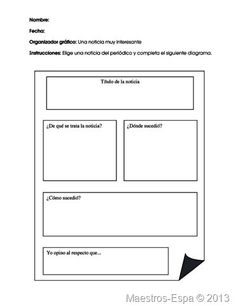 Recursos para maestros de español: Una noticia muy interesante (organizador)