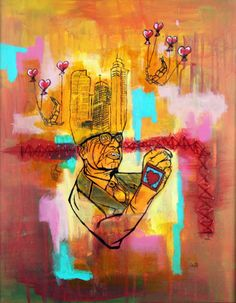 Falling City Vincent Cheap Mixed Media on Canvas 20X16 2016 Email info@bitfactory.net for all inquiries. Currently on display in the Gallery. #artoftheday #bitfactory #noshow #denver #adsf #artdistrictonsantafe #lincolnpark #denverartist #art #abstractart #popart #dailyart #fineart #contemporaryart #artwork #instagood #instaart