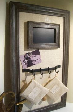 Decorative Magnetic Board Office Organizer-Magnetic Framed Bulletin Board in Shabby Chic Style with Cream Colored Burlap-Memo Board