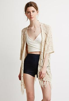 Open-Front Fringed Cardigan   LOVE21   #f21contemporary