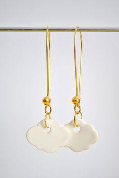 Pendientes cerámica nube