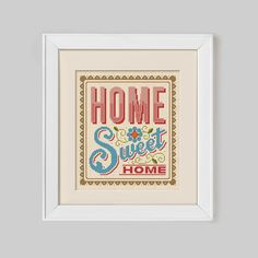 Home Sweet Home Cross Stitch Pattern Digital by Stitchrovia