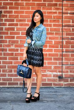 Versatile and playful in my #fab #aliceandolivia dress and #ragandbone denim jacket that completed my All American Weekend #outfitideas from Madison LA! #bloggerstyle #fashion #ootd