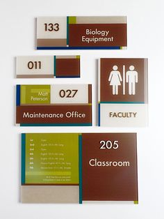 Vivid sign family done for a private K-12 school in Georgia. ADA Restroom sign ADA Interior Room ID Sign #signage #wayfinding