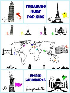 Treasure hunt for kids - landmarks of the world. FREE PRINTABLE. Learn about monuments like the Eiffel Tower, the London Bridge, the Statue of Liberty and more. | at Non Toy Gifts