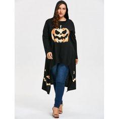c0a3a13310816 SKM Women  Plus Size Tops Tees Pumpkin Print High Low Hem Fashion Loose Hoodies  Sweatshirts Dress   Halloween Costumes for women