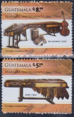 Guatemala - Musical Instruments on a postage stamp.