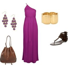 Maxi dress outfit, created by pootiebear1031 #Classic design.#Casually Cool!!!#