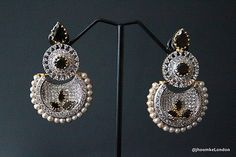 UK Seller Bollywood Indian Partywear BIG LONG earring pearl stones traditional