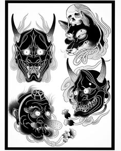 Black Japanese, designs available… Hanya Mask Tattoo, Oni Tattoo, Dark Tattoo, Japanese Demon Tattoo, Japanese Demon Mask, Japanese Drawings, Japanese Tattoo Designs, Black Tattoo Cover Up, Cover Tattoo