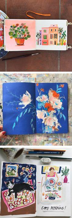 Sketchbook inspiration // illustration sketchbooks // Moleskin paintings