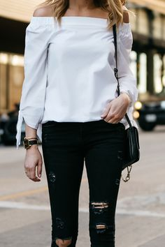 Fashion Jackson, Dallas Blogger, Fashion Blogger, Street Style, Free People Off-the-Shoulder White Top, Zara Black Ripped Skinny Jeans, Chloe Faye Handbag, Valentino Rockstud Pumps, Celine Aviator Sunglasses