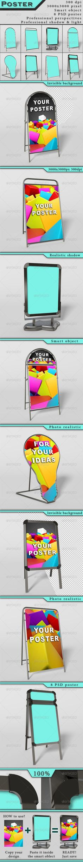 A-Frame Poster Display Sign Mock-Ups  #graphicriver