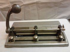 VTG Mid-Century  Heavy Duty 3 Hole Paper Punch Adjustable Master Products #MasterProductsMfgCoLosAngeles #MidCenturyOfficeIndustrialDecour